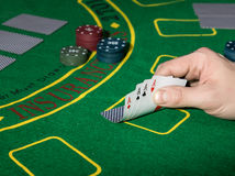 Combinazione di conquista in gioco del poker Immagine Stock
