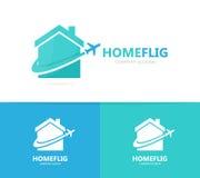 Combinazione di logo dell'aereo e del bene immobile Camera e simbolo o icona di viaggio Modello unico di progettazione del logoty Immagini Stock