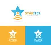 Combinazione di logo della boccetta e della stella Modello unico di progettazione del logotype del laboratorio e del capo Immagine Stock