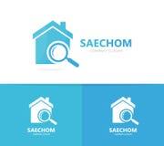 Combinazione di logo della lente di ingrandimento e del bene immobile Camera e simbolo o icona della lente d'ingrandimento Affitt Fotografia Stock