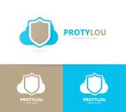 Combinazione di logo della nuvola e dello schermo Modello di progettazione del logotype di stoccaggio e di sicurezza Immagini Stock