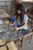 Combinazione la stagnola del cavo e della carta del bambù Fotografie Stock Libere da Diritti