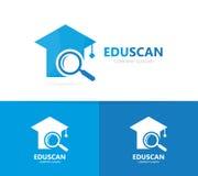 Combinazione laureata di logo della lente di ingrandimento e del cappello Studio e simbolo o icona della lente d'ingrandimento Lo Fotografia Stock