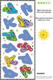 Combine ao enigma visual da sombra - flip-flops na praia ilustração stock