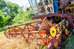 Combine corn and wheat harvester. Agriculture industry Royalty Free Stock Photos