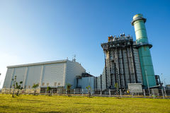 Combine cycle power plant with green field Stock Images