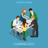 Combine data to create graphic report flat 3d vector isometric Royalty Free Stock Images