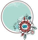 Combine dei fiori di tiraggio della mano con il blocco per grafici del cerchio royalty illustrazione gratis