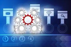 Combine el concepto del trabajo, hombre de negocios que trabaja con los engranajes redner 3d libre illustration