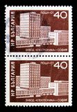 Combine 'Elektronika ', Sofia, Construction of socialism serie, c. MOSCOW, RUSSIA - MAY 15, 2018: Two stamps printed in Bulgaria shows Combine 'Elektronika ' stock photos