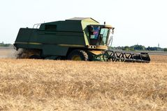 Combine at farmland royalty free stock image