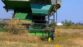 Combine in the field stock footage