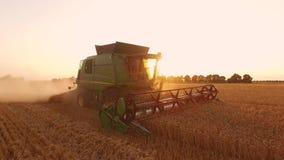Combine, field and sunrise. stock footage