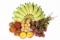 Combine fruit with,Banana lychees rambutan Longkong and apple Stock Images