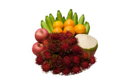 Combine  fruit  with,Banana orange coconut  rambutan and apple Stock Photos
