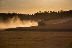 Combine harvested grain at sunset Stock Photo