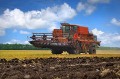 Combine harvester. Travels along the field Royalty Free Stock Images