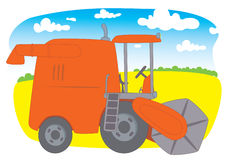 Combine Harvester. Red Combine Harvester on the background of crops Vector Illustration