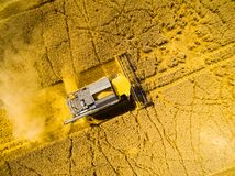 Combine harvester from above. stock images