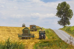 Combine harvester in action on wheat field Stock Photo