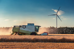 Combine harvester agriculture machine harvesting golden ripe wheat field royalty free stock photos