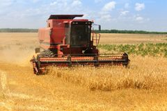 Combine harvester on blue sky Royalty Free Stock Images