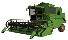 Combine harvester. 3D render of a green combine harvester Royalty Free Stock Photos