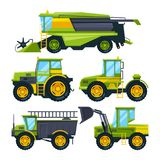 Combine harvester and different others agricultural machines. Vector machine for farm work agricultural illustration Royalty Free Stock Photos