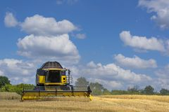 Combine-harvester in the field to gather the harvest of grain crops. Rye, wheat royalty free stock photo