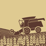 Combine harvester in field. Vector illustration. eps 8 Stock Photos