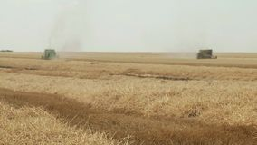 Combine harvester gathers the wheat crop. Agriculture and harvester   Combine harvester gathers the wheat crop stock footage