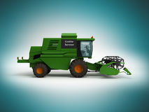 Combine harvester green 3d render on blue background Stock Photo