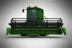 Combine harvester green 3d render on gray background Stock Photo