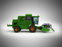 Combine harvester green 3d render on gray background Stock Image
