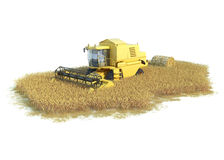 Combine-harvester on isolated field. Agronomic illustration on white Stock Photography