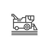 Combine harvester line icon, outline vector sign, linear style pictogram isolated on white. Symbol, logo illustration. Editable st Stock Photo