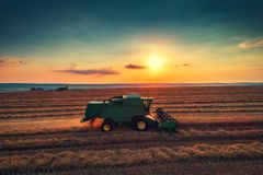 Combine harvester machine working in a wheat field at sunset royalty free stock photos