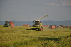 Combine harvester mows the field, harvester unloading into a tractor trailer. Slovakia Stock Images
