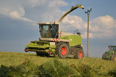 Combine harvester mows the field, harvester unloading into a tractor trailer. Slovakia Stock Image