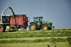 Combine harvester mows the field, harvester unloading into a tractor trailer Royalty Free Stock Images