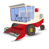 Combine-harvester red, isolated image on a white background Royalty Free Stock Photography