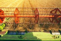 Combine harvester revolving reel from farmers pov Stock Photography