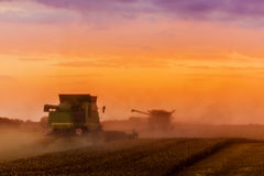 Combine harvester at sunset Stock Images