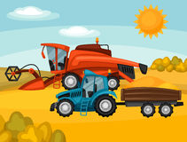 Combine harvester and tractor on wheat field. Agricultural illustration farm rural landscape.  Royalty Free Stock Photography