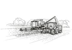 Combine Harvester and Tractor at work on field. Vector Royalty Free Stock Photos