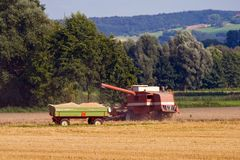 Combine harvester and trailer Royalty Free Stock Photography