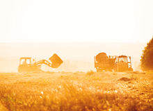 Combine harvester unloading grain into the trucks trailer Royalty Free Stock Photo