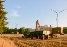 Combine harvester unloads wheat grain Royalty Free Stock Image