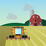Combine-harvester a vector illustration isolated Stock Image