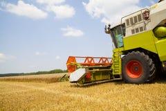 Combine harvester on a wheat field. Combine harvester on a wheat field with a cloudy sky stock image